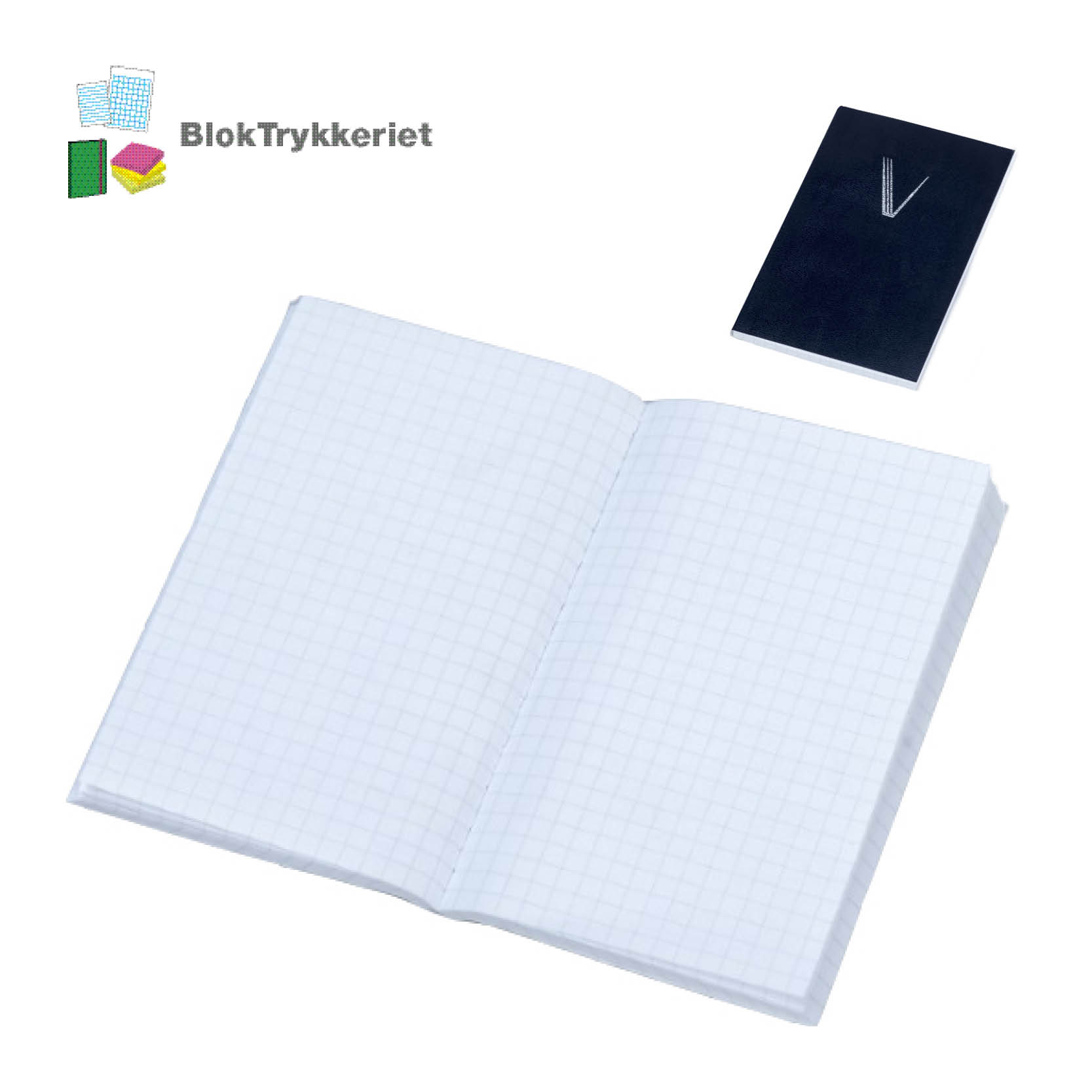 Notesbog med blødt omslag. BlokTrykkeriet.dk